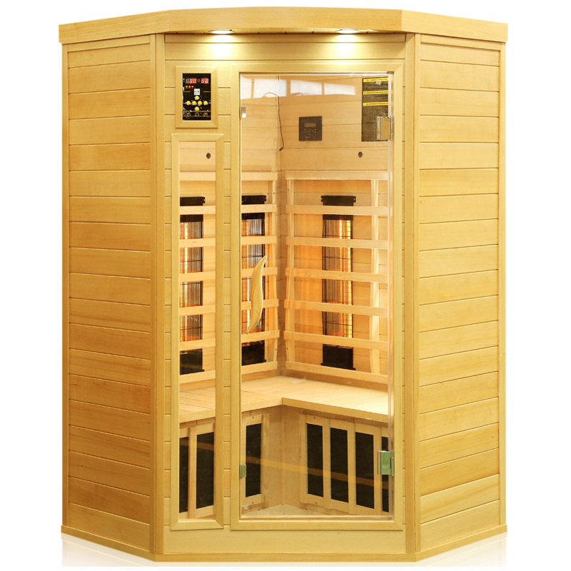 corner far infrared sauna room with combined heater